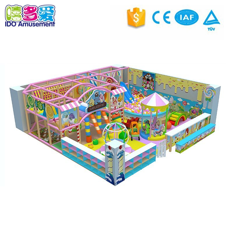 childrens soft play equipment suppliers Candy Theme 89m² Indoor Playground with Slide and Ball Pool information